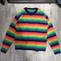 Радуга Свитер в полоску Для женщин пуловеры 2018 Осень вязать Свободные шерсть негабаритных красочные свитера