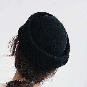 Image 4 - エレガントな 100% ウール Fedora の冬帽子女性女性の弓のベレー帽キャップピルボックス帽子 H3