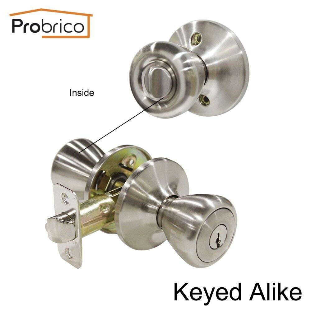 Probrico Keyed Alike Door Lock Stainless Steel Safe Lock Security Satin Nickel Door Knob ...