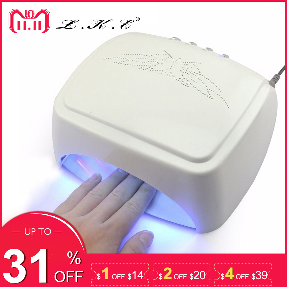 LKE 60W White LED UV Lamp Nail Dryer 365-405nm Gel Polish Curing Machine with Timer Auto-induction Nail Art Manicure Tool Gift 60w ccfl led nail lamp uv lamp nail dryer gel polish curing machine with timer auto induction nail art manicure for nail tools