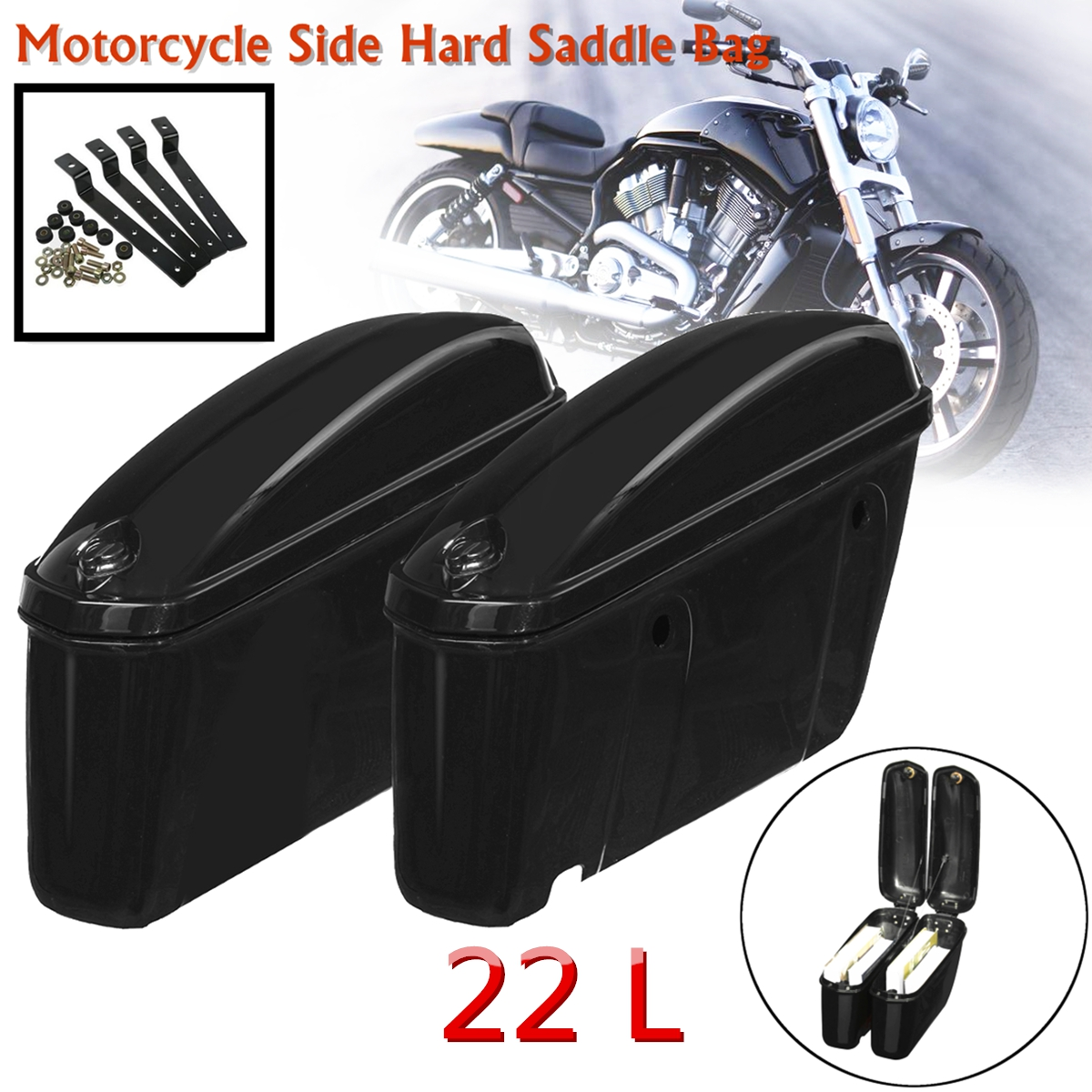 22L Black Motorcycle Side Hard Saddle Bags Saddlebags Trunk Luggage Suitcase for Honda/Harley/Yamaha/Suzuki Touring