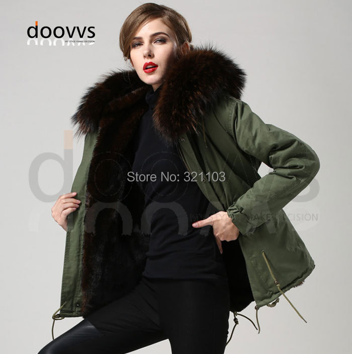 2016 winter jacket coat women's parkas army green Large raccoon fur collar hooded woman outerwear loose clothing - foxfurs store
