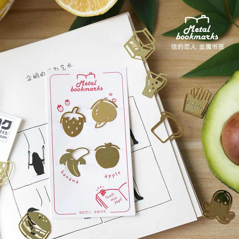4Pcs Criativo Mini Bookmarks De Metal de Ouro para o Presente Do Professor de Frutas/alimentos/sushi Forma Livro Mark Clipe Escritório artigos de papelaria material de Arte