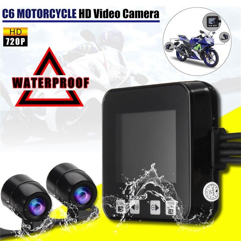 6Pcs Motorcycle Camera LCD Screen Video Recorder HD Dual Len Video Waterproof 720p Camcorder Motorbike Electronics