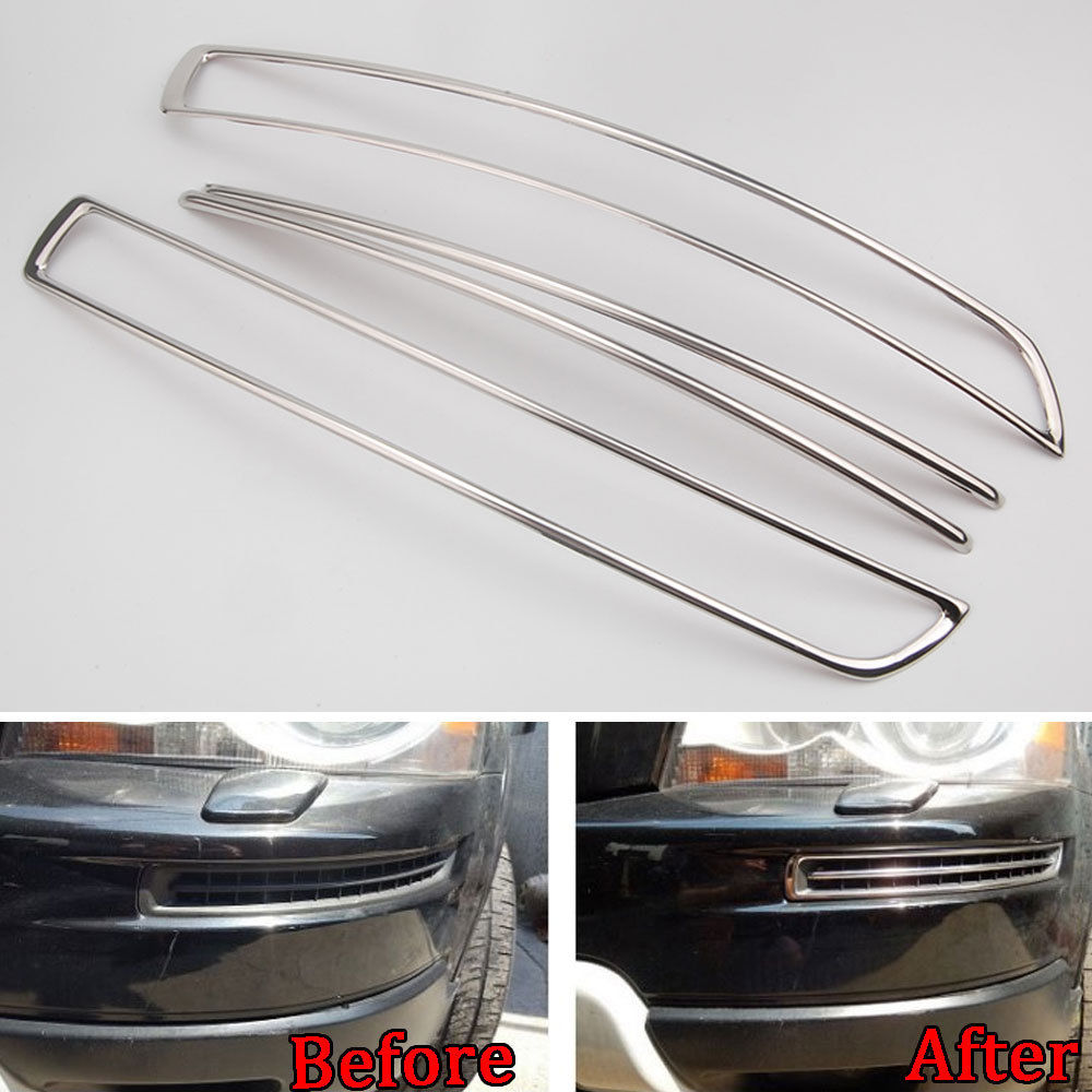 4pcs Stainless Steel Car Front Bumper Air Intake Molding