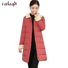 Fdfklak New Korean Winter Outerwear Women Winter Jacket Women s Slim Long Coat Female Parkas Big