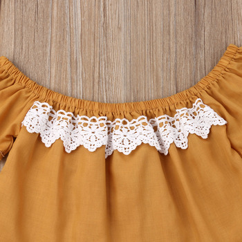2PCS Toddler Kids New born Baby Girl Clothes Off Shoulder Lace Shirt Tops+Sunflowers Hole Denim Pants Outfits 1-5Y Fast Shipping 3
