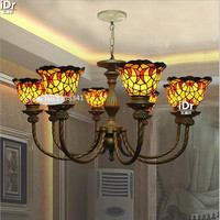 Foreign Trade European Glass Stained Glass Living Room Lamp Classic Bull Restaurant Lighting Chandeliers Rmy 0680