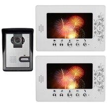 """7 """" LCD Monitor Video de la puerta teléfono sistema de intercomunicación del timbre IR cámara Intercom timbre de la puerta seguridad para el hogar 1 Carmera 2 Monitor"""