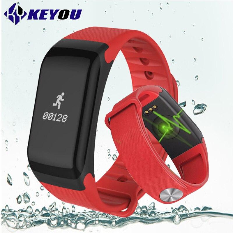 KY F1 podomètre fitness bracelet sang pression femmes bracelet à puce android moniteur de fréquence cardiaque trackersmartband la vie imperméable à l'eau