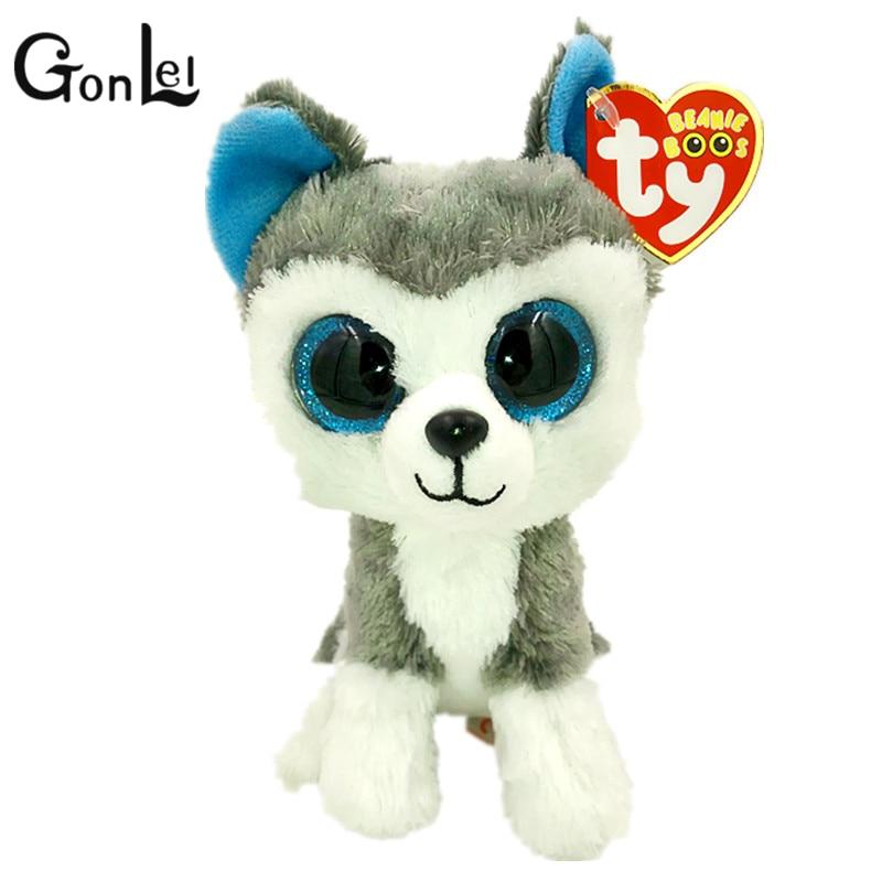 GonLeI 15cm 2015 Hot Sale Ty Beanie Boos Big Eyes Husky Dog Plush Toy Doll Stuffed Animal Cute Plush Toy Kids Toy