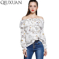 Promotions 2017 New Women Strapless Blouse Fashion Slash Neck Elastic Printing Sexy Off The Shoulder Long