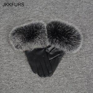 Image 5 - נשים של אמיתי עור כפפת החורף חם אמיתי כבש ושועל פרווה כפפות אופנה סגנון רך טבעי שועל פרווה S7200