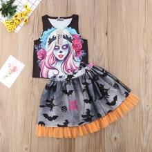 Girls Halloween Day Outfit Clothes Baby Kids Girls Vampire Vest Shirt Tops Bats Skirt Customs Clothing Set Photo Prop 2019 стоимость