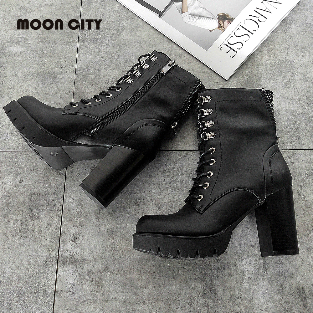 2019 Fashion Women 39 s Boots Femme High heel Leather Boots mid calf boots for women BlackLace up Thick heel Shoes Woman plus size in Mid Calf Boots from Shoes