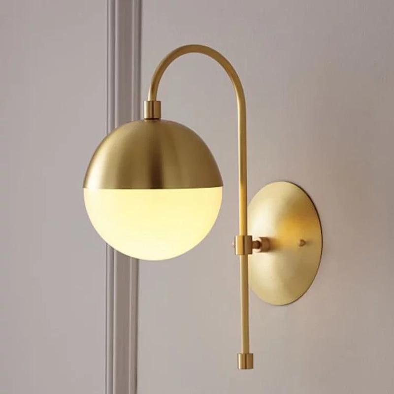 Nordic Copper Wall Lamp Modern Bedroom Led Light Glass Wall Sconce Bathroom Mirror Light Living Room Bedside Aisle Wall Light