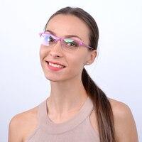 Moda rosa caramelo metal glasse óptico Marcos gafas mujeres medio borde miopía espectáculo Marcos