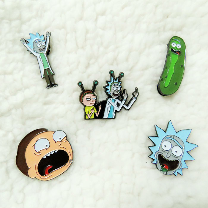1.5 Inch Cartoon Cute Emoji Rick And Morty Enamel Lapel Pin Pickle Pickle Badge Shell Brooch Fund Badges For Neckline Chest