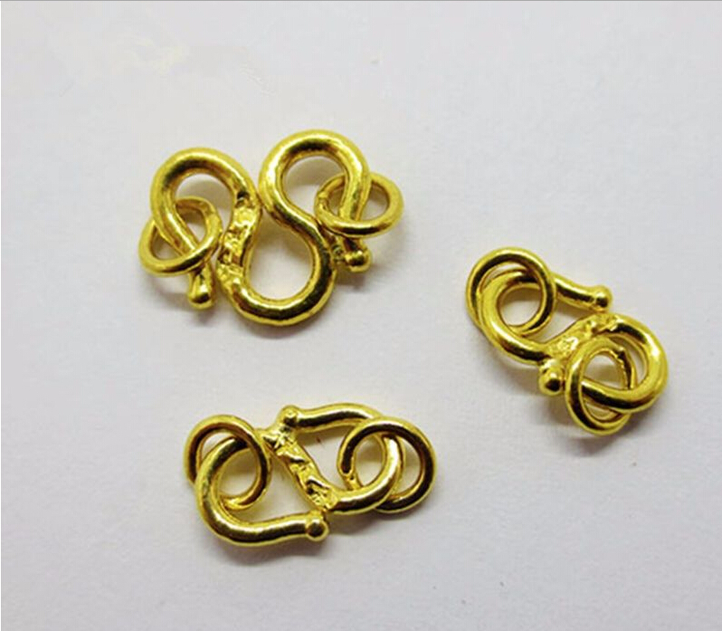 1 pièces 999 24 K or jaune pendentif/meilleur S forme cercle Bracelet fermoir/0.5-1g