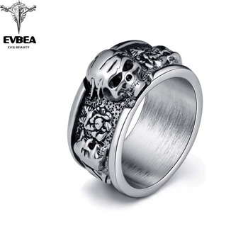 Silver Gothic Punk Old Wrinkle Skull Big Rotating Bikers Bible Rings Jewelry