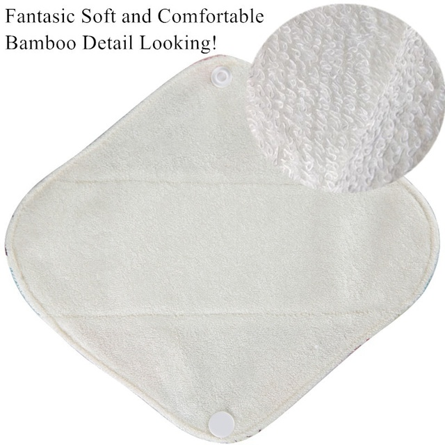 [simfamily] 6+1 Panty Liner Sets Reusable Pure Bamboo Menstrual Cloth Sanitary,Stay Dry Healthy Female sanitary Mama Cloth Pads