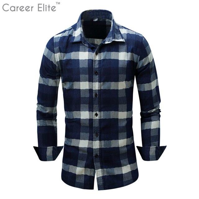f1ee7d1809 Cowboy Camisas Dos Homens Camisa Xadrez Masculina Manga Longa Chemise Homme homem  Camisa Blusas Plus Size