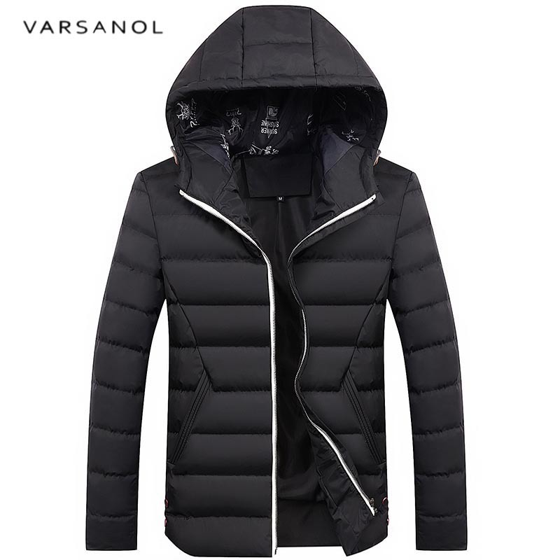Varsanol New Arrival Winter Jacket Men Warm Cotton Parka Coats Hooded High Quality Overcoat Slim Long Sleeve Plus Size 2017Hots men ultra light large size thin parka jacket korean black cardigan china hoody winter overcoat slim warm military manteau homme