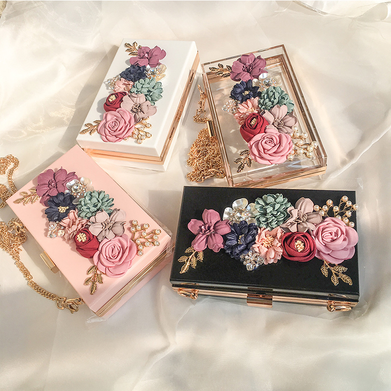 Transparent Wedding Clutch Purse Flower Pearl Acrylic Clutch Bags for Women Shoulder Bag Beach Bag for Summer ZD1316 4