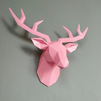 Geometry 3D Animal Deer Head Wall Decoration Resin Wall Home Decoration TV Background Ornament Gift R273