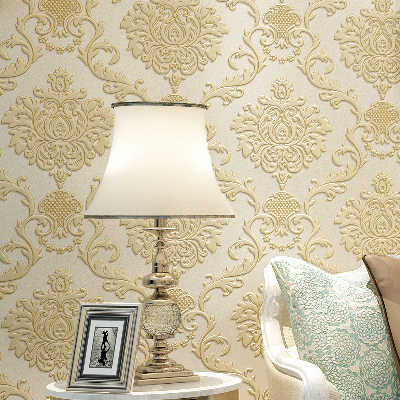 European Damask Non-woven Wallpaper 3D Embossed Flower Wallcoverings Modern Bedroom Living Room Background Wall Paper Roll купить