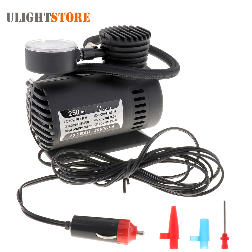 Mini Portable 12V 250PSI Electric Pump Air Compressor Tire Inflator for Motorcycles Electromobile Canoeing Bike Tyre