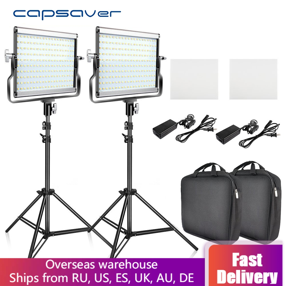 Capsaver L4500 LED Video Light Kit Dimmable 3200K-5600K 15W CRI 95 Studio Photo Lamps Metal Panel With Tripod For Youtube Shoot