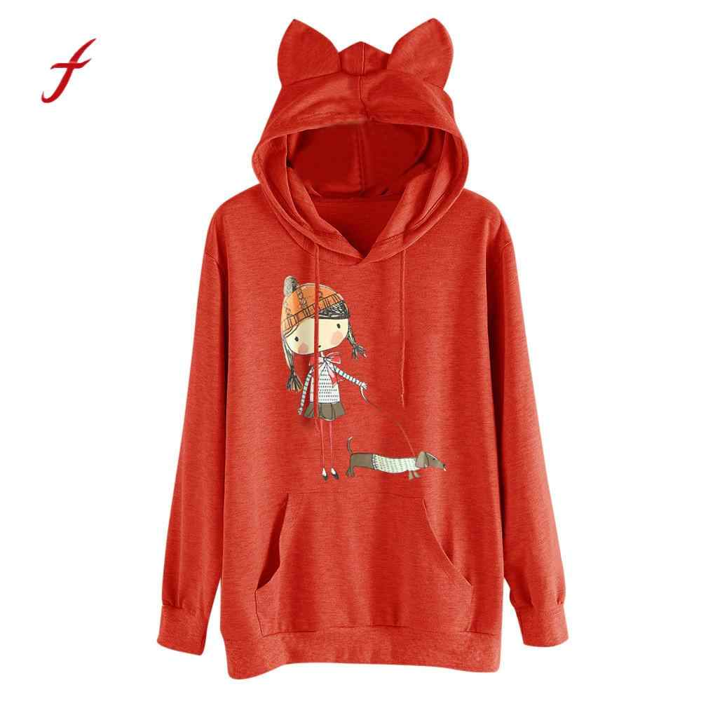 dc0847064e2 Spring Autumn Cute Clothing Women Casual Printing Cat ears Hooded  Sweatshirt Ladies Plus Size Loose Hoodies