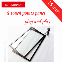 15 Inch Waterproof 6 Points Touch Screen With Glass IP65 Plastic Frame With USB RS232 For