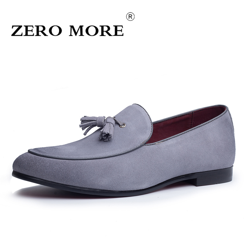 ZERO MORE Split   Leather     Suede   Mens Shoes Casual Tassel Fringe Slip On Vintage Loafers Men Soft Breathable Men's Shoes Drivings