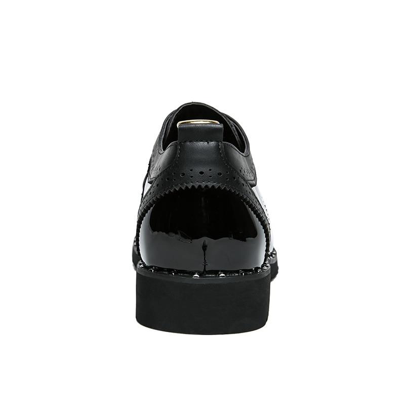 38 Casual Oxford Oxfords Vintage Zapatos Hombre Británico Derby Punta Tamaño 48 Estilo De Gran Redonda oro Marca Tallado plata Negro Yoylap Bullock wqOfxT46