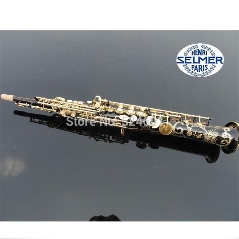 France Henri Selmer B Soprano Saxophone Straight Action 80 Series II Black Gold-bonded Saxofone Saxophone Top Musical Instrument  brand new france henri selmer soprano saxophone 80 black nickel gold sax mouthpiece with case and accessories