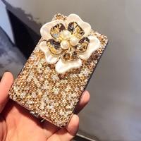 Shiny Pearl Petals Crystal Diamond Ladies Cigarette Case Stick Drill Ultra thin Metal Portable Trumpet Cigarette Box Love Gifts