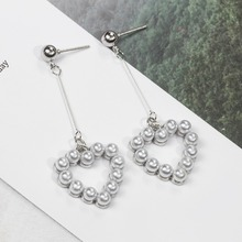 2019 Heart Round Shaped Pearl Pendant Long Drop Earrings Fashion Women Earrings Vintage Long Drop Earrings Wedding Party Korean
