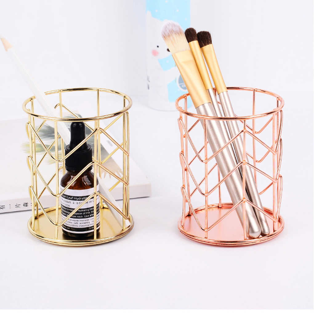 New Arrival Hollow out Makeup Brush Pot Holder Organizer Iron Round Practical Pen Pencil Cup Stationery Container Storage