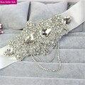 XW48 Free shipping  Luxury Hand made sashes for wedding dresses rhinestone crystal bridal belt