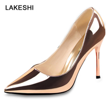 Women Pumps Pointed Toe Women High Heels Shoes Gold Silver P