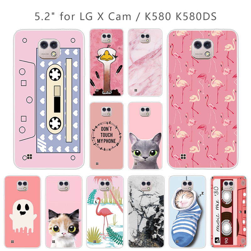Cases For LG X Cam K580 K580Y Xcam K580 K580DS 5.2 Inch Cases Soft Silicone Clear TPU Pink Cover Skin For Lg X Cam K580