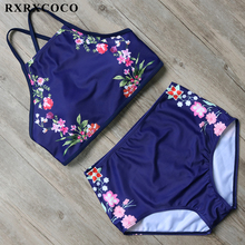 RXRXCOCO High Neck Bikini Flower Printed Swimsuit Women Sexy Backless Swimwear High Waist Bikini Set Halter Bandage Swim Wear