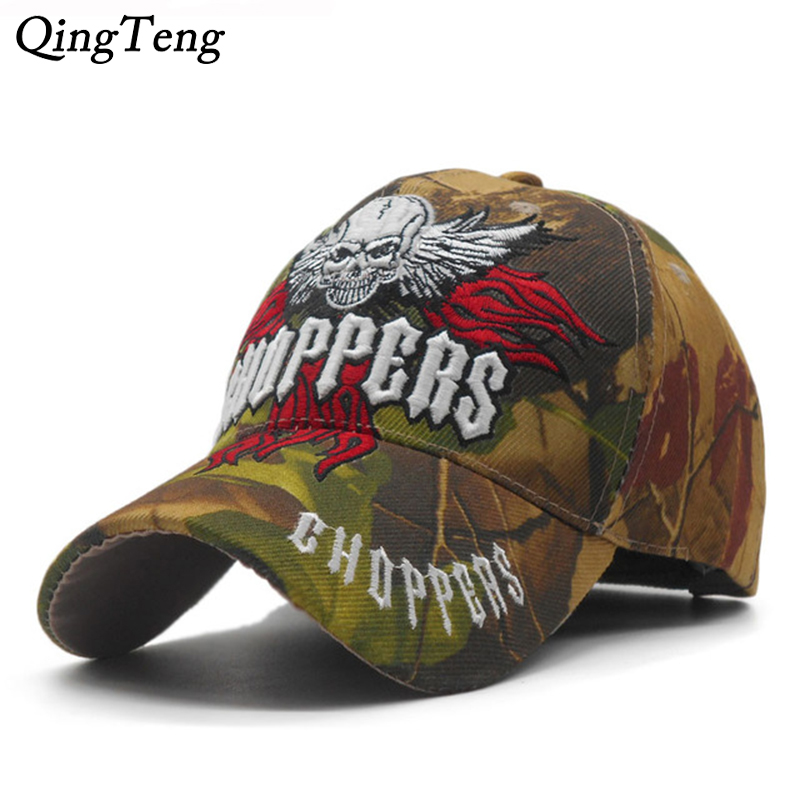 2018 New Embroidered Skull Cap Men Camouflage Hunting Baseball Caps Tactical Style Cap Casual Cool Dad Hat Fishing Bone Casquett