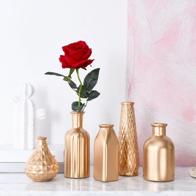 Nordic INS Glass Golden Vase Table Flower Ornaments Modern Minimalist Home  Interior Decoration Accessories Motheru0027s Day