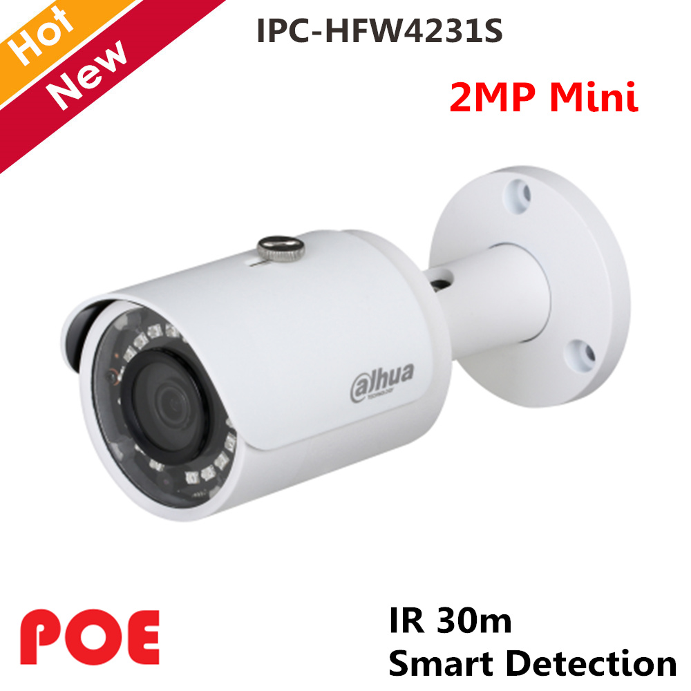 Dahua POE 2MP WDR IR Mini Bullet Network IP Camera Indoor Outdoor IP67 Support Smart Detection Metal case IPC-HFW4231SDahua POE 2MP WDR IR Mini Bullet Network IP Camera Indoor Outdoor IP67 Support Smart Detection Metal case IPC-HFW4231S