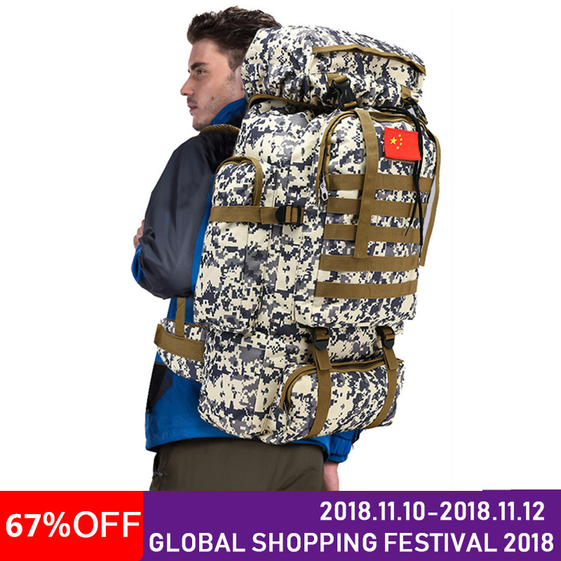 Waterproof Nylon Military Tactics Backpack Rucksack 70L Large Capacity Men Backpack for Hike Travel Backpacks 70 to 85l big large capacity adjustable multifunction out door travel backpack camouflage nylon tactics molle system rucksack