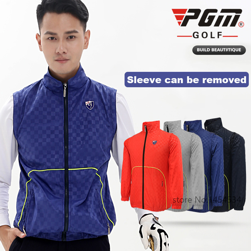 2017 PGM Golf Clothes Male Waterproof Vest Spring Autumn Coat Light Windproof  Vest Sleeve Can Be Removed Winter Jackets Apparel