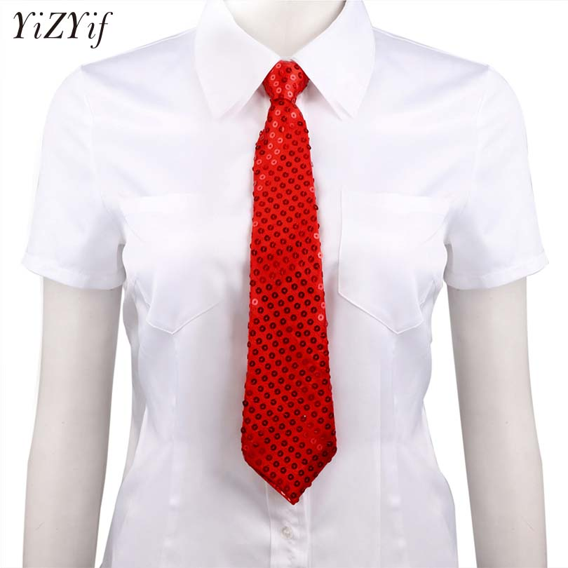 YiZYiF Unisex Sequin Tie Shiny Tie Costumes Pre-tied Necktie Neckwear Men Women Adjustable Zipper ties Party Costume Magic Show